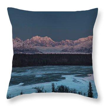 Denali Morning Blue Throw Pillow