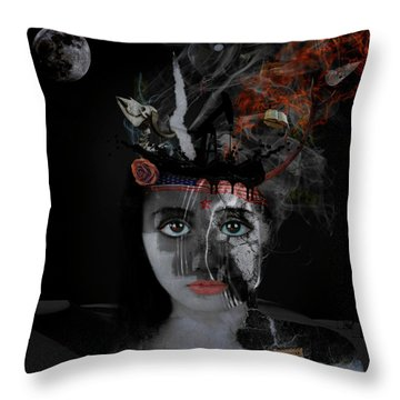 Throw Pillow featuring the digital art Denial's Child by Nola Lee Kelsey