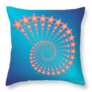 Denise's Frangipani  Spiral Shell Throw Pillow