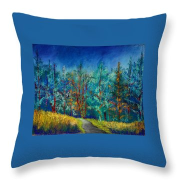 Throw Pillow featuring the painting Dense Forest by Karin Eisermann