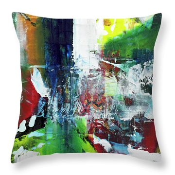 Dense Forest Trail First Snow Throw Pillow