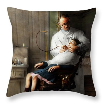 Throw Pillow featuring the photograph Dentist - Good Oral Hygiene 1918  by Mike Savad