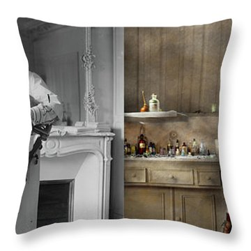 Throw Pillow featuring the photograph Dentist - Good Oral Hygiene 1918 - Side By Side by Mike Savad
