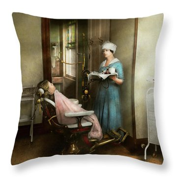 Throw Pillow featuring the photograph Dentist - Patients Is A Virtue 1920 by Mike Savad
