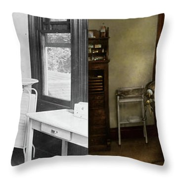 Throw Pillow featuring the photograph Dentist - Patients Is A Virtue 1920 - Side By Side by Mike Savad