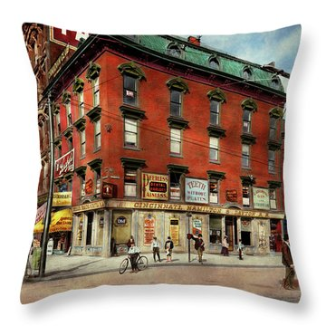 Throw Pillow featuring the photograph Dentist - Peerless Painless Dental Parlors 1910 by Mike Savad