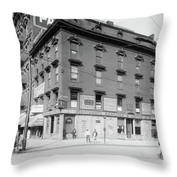 Throw Pillow featuring the photograph Dentist - Peerless Painless Dental Parlors 1910 - Side By Side by Mike Savad