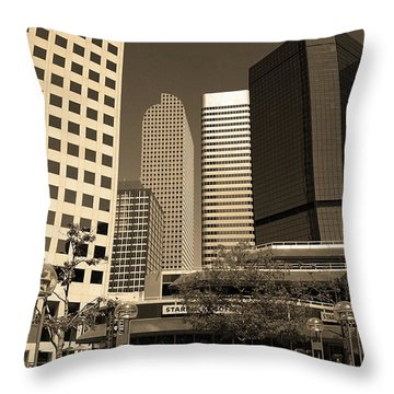 Throw Pillow featuring the photograph Denver Architecture Sepia by Frank Romeo