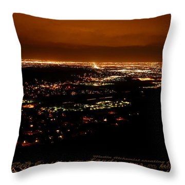 Denver Area At Night From Lookout Mountain Throw Pillow