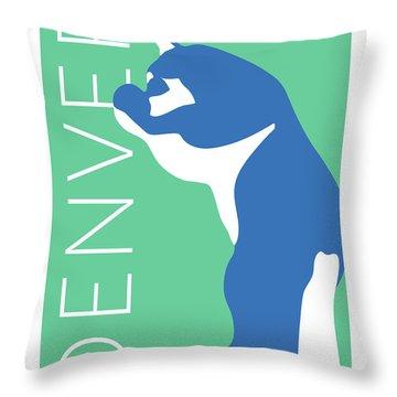Denver Blue Bear/aqua Throw Pillow
