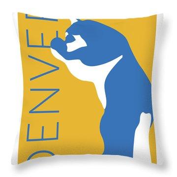 Denver Blue Bear/gold Throw Pillow