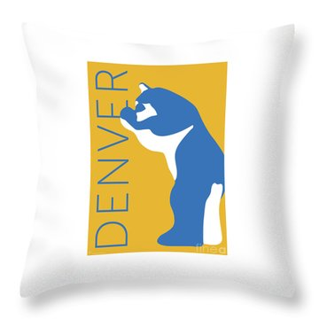 Denver Blue Bear/gold Throw Pillow
