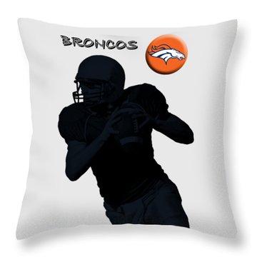 Denver Broncos Football Throw Pillow by David Dehner