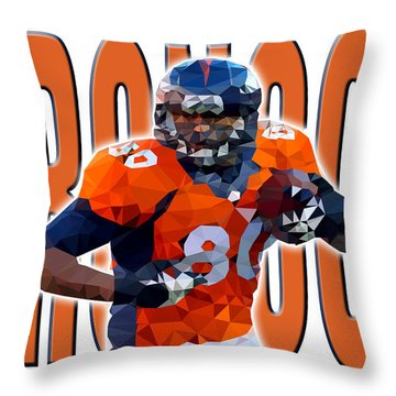 Throw Pillow featuring the digital art Denver Broncos by Stephen Younts