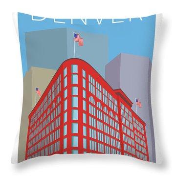 Denver Brown Palace/blue Throw Pillow