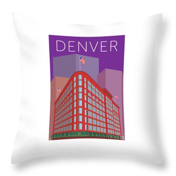 Denver Brown Palace/purple Throw Pillow