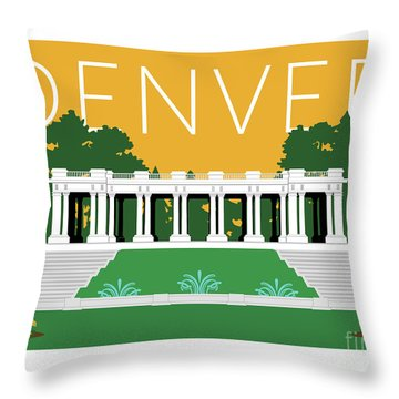 Denver Cheesman Park/gold Throw Pillow