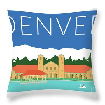 Denver City Park/blue Throw Pillow