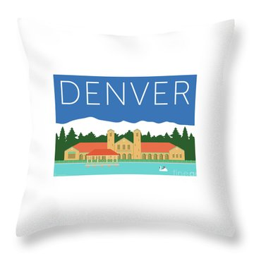 Denver City Park/blue Throw Pillow