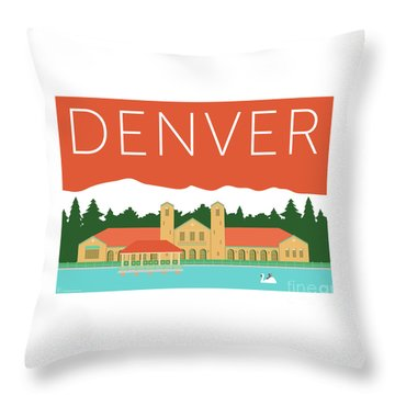 Denver City Park/coral Throw Pillow