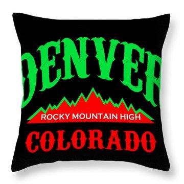 Denver Colorado Rocky Mountain Design Throw Pillow