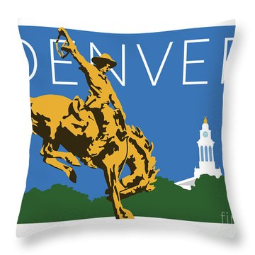 Denver Cowboy/dark Blue Throw Pillow