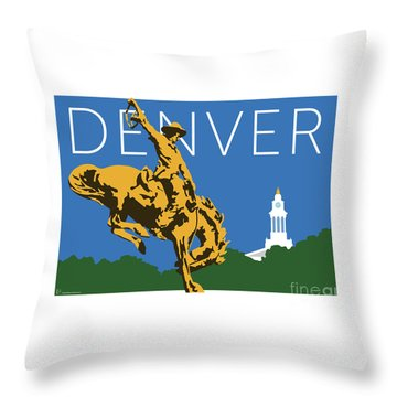Denver Cowboy/dark Blue Throw Pillow