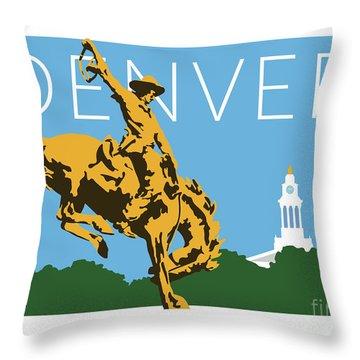 Denver Cowboy/sky Blue Throw Pillow
