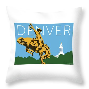 Denver Cowboy/sky Blue Throw Pillow