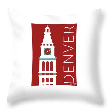 Denver D And F Tower/maroon Throw Pillow