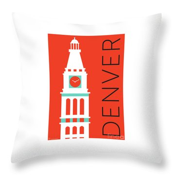 Denver D And F Tower/orange Throw Pillow
