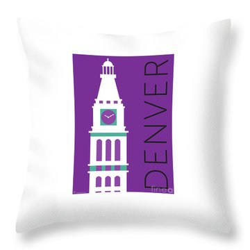 Denver D And F Tower/purple Throw Pillow