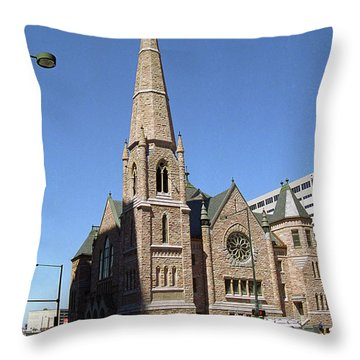 Throw Pillow featuring the photograph Denver Downtown Church by Frank Romeo