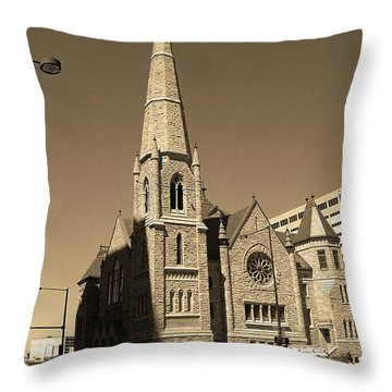 Throw Pillow featuring the photograph Denver Downtown Church Sepia by Frank Romeo