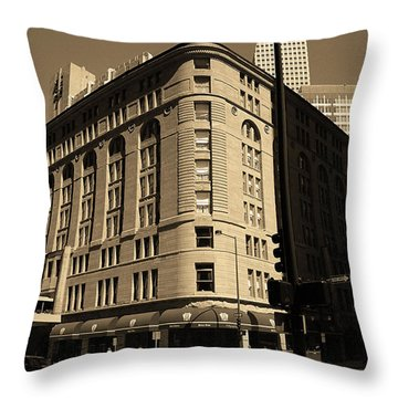 Throw Pillow featuring the photograph Denver Downtown Sepia by Frank Romeo