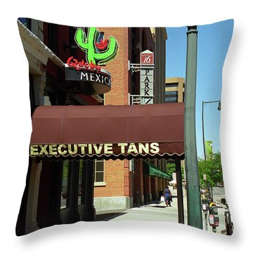 Throw Pillow featuring the photograph Denver Downtown Storefront by Frank Romeo