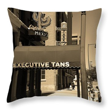 Throw Pillow featuring the photograph Denver Downtown Storefront Sepia by Frank Romeo