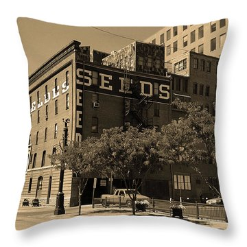 Throw Pillow featuring the photograph Denver Downtown Warehouse Sepia by Frank Romeo