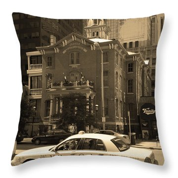 Throw Pillow featuring the photograph Denver Downtown With Yellow Cab Sepia by Frank Romeo