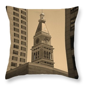 Throw Pillow featuring the photograph Denver - Historic D F Clocktower 2 Sepia by Frank Romeo