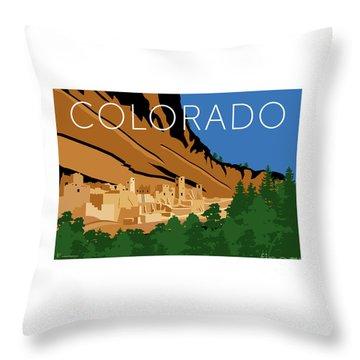 Throw Pillow featuring the digital art Mesa Verde Blue by Sam Brennan