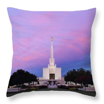 Denver Lds Temple At Sunrise Throw Pillow