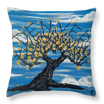 Throw Pillow featuring the drawing Denver Love Tree by Aaron Bombalicki