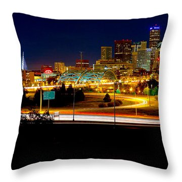 Denver Night Skyline Throw Pillow by James O Thompson