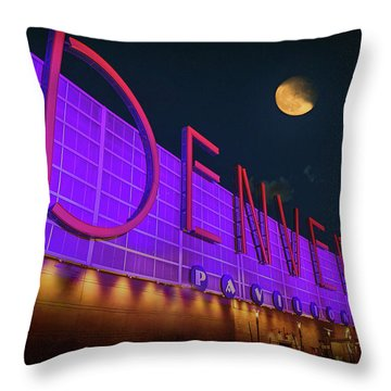 Throw Pillow featuring the photograph Denver Pavilion At Night by Kristal Kraft