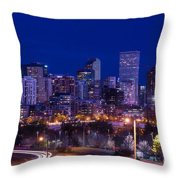 Denver Skyline At Night - Colorado Throw Pillow