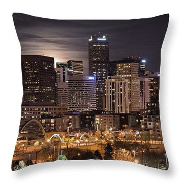 Denver Skyline At Night Throw Pillow