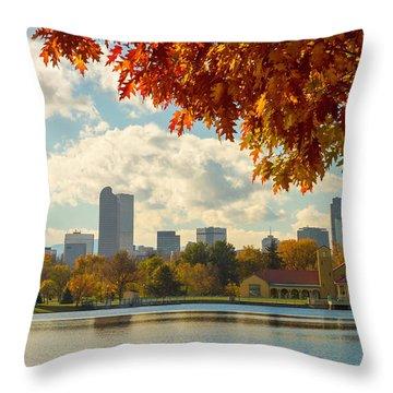 Denver Skyline Fall Foliage View Throw Pillow