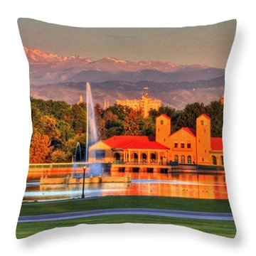 Denver Skyline Throw Pillow by Scott Mahon