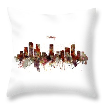 Throw Pillow featuring the mixed media Denver Skyline Silhouette by Marian Voicu